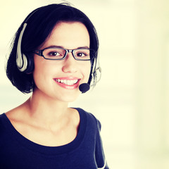 Closeup of attractive customer support representative