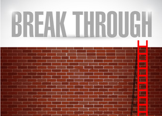 break through brick wall illustration design