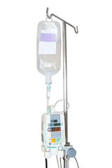 Isolated infusion pump and IV hanging on pole