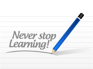 never stop learning message illustration design
