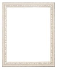 White baroque frame. Vertical white frame isolated on white