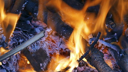Firewood Burning in the Fireplace, closeup