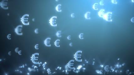 money rain background, euro. 3d animation, seamless loop