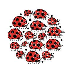 Ladybird family, frame for your design