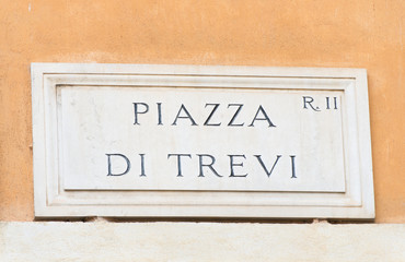 Street plate of famous Piazza Di Trevi in Rome, Italy