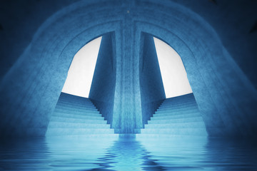 architecture wallpaper scene of water spiritual cathedral
