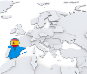 Spain on a map of Europe