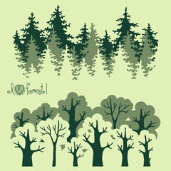Abstract banners of green deciduous  forest and coniferous