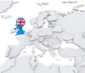 United Kingdom on a map of Europe