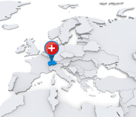 Switzerland on a map of Europe