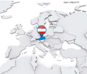 Austria on a map of Europe