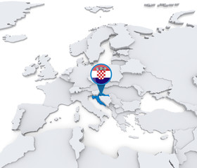 Croatia on a map of Europe