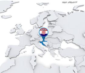 Croatia on a map of Europe