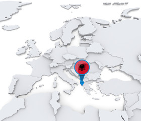 Albania on a map of Europe