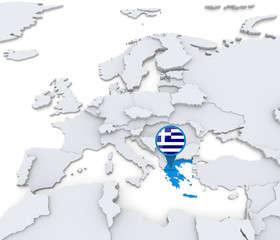 Greece on a map of Europe