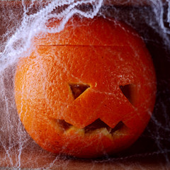 Colorful fresh orange Halloween lantern