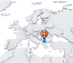 Macedonia on a map of Europe