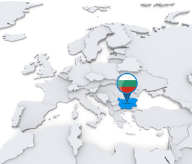 Bulgaria on a map of Europe