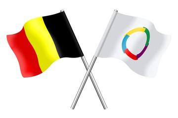 Drapeaux: Belgique et Francophonie