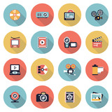 Fototapety Photo & video modern flat color icons.