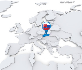 Slovakia on a map of Europe