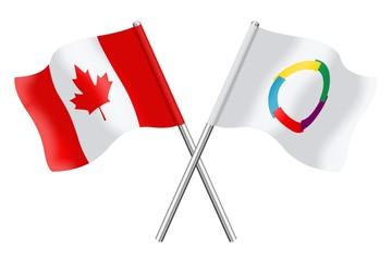 Drapeaux: Canada et Francophonie