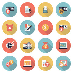 Finance modern flat color icons.