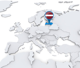 Latvia on a map of Europe