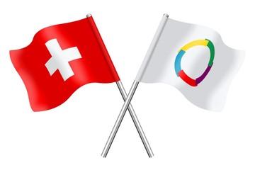 Drapeaux: Suisse et Francophonie