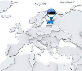 Estonia on a map of Europe