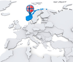 Norway on a map of Europe