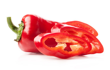 Red pepper slices isolated on white background
