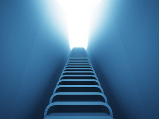 staircase ladder up perspective in blue light