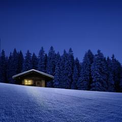 Schihütte mit Leuchtendem Fenster