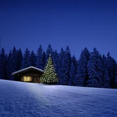 Schihütte mit Weihnachtsbaum