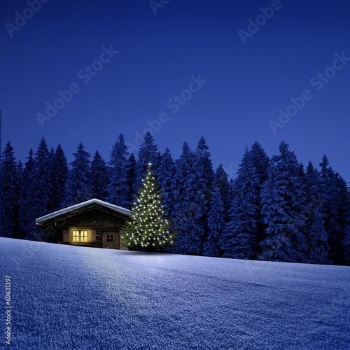 canvas print picture Schihütte mit Weihnachtsbaum