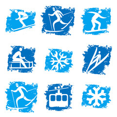 Winter sports grunge icons