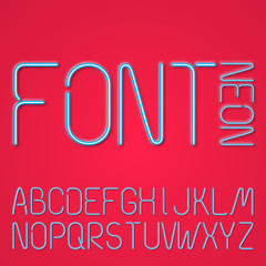 Blue Neon Letters On A Red Background