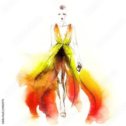 Fotobehang Aquarel Gezicht woman in dress