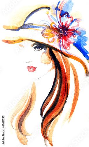 In de dag Aquarel Gezicht woman portrait .abstract watercolor .fashion background