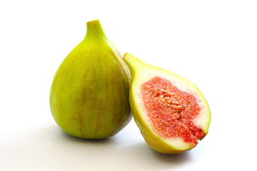 Two figs isolated on white background