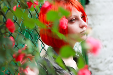 Red Hair Girl in Rose tree