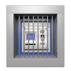 Atm machine with prison bars isolated on white background