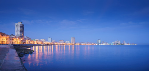 Cuba, Caribbean Sea, la habana, havana, skyline at night