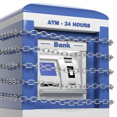 Atm machine in chains isolated on white background