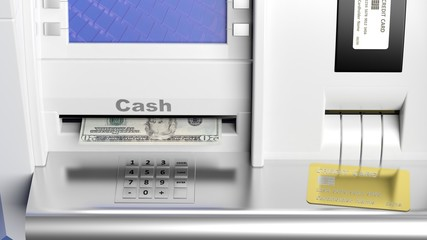 Atm machine display closeup with 20 dollar banknote