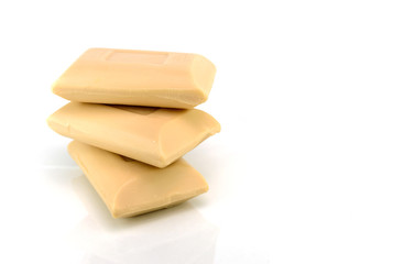 Stack of Soap Bars on white background