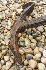 old rusty anchor on rocks, Newfoundland