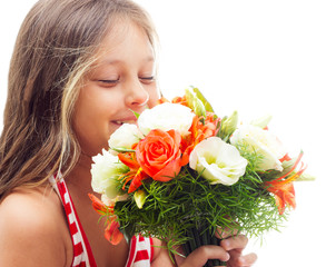 kid with bouquet of flowers