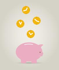time it´s money concept, piggy bank with clocks